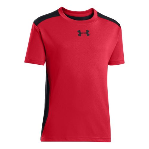 Kids Under Armour Boys Show Me Sweat T Short Sleeve Technical Tops - Red/Black S ...