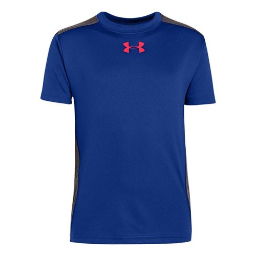 Kids Under Armour Boys Show Me Sweat T Short Sleeve Technical Tops - Royal/Carbon Heather ...