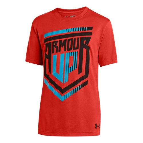 Kids Under Armour Boys Armour Up T Short Sleeve Technical Tops - Noise/Pirate Blue S ...