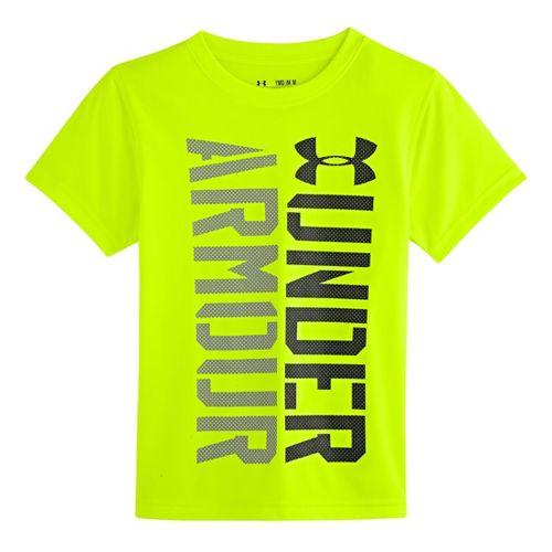 Kids Under Armour Boys Show Me Sweat T Short Sleeve Technical Tops - Hi-Viz Yellow/Black ...