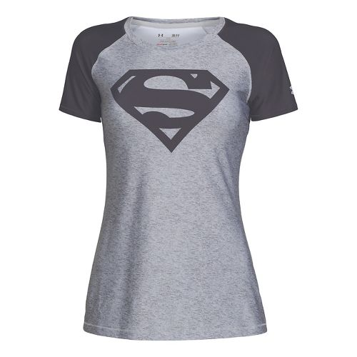 Womens Under Armour HeatGear Sonic Supergirl Short Sleeve Technical Tops - True Grey Heather M ...