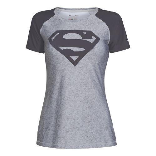 Womens Under Armour HeatGear Sonic Supergirl Short Sleeve Technical Tops - True Grey Heather XL ...