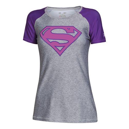 Womens Under Armour HeatGear Sonic Supergirl Short Sleeve Technical Tops - True Grey ...