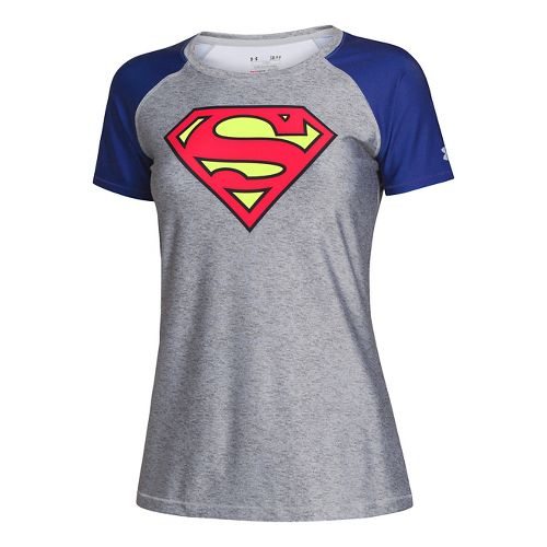 Womens Under Armour HeatGear Sonic Supergirl Short Sleeve Technical Tops - True Grey ...