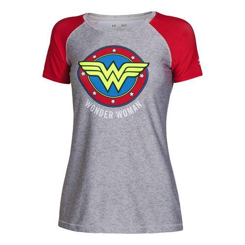 Womens Under Armour HeatGear Sonic Wonder Woman Short Sleeve Technical Tops - True Grey ...
