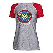 Womens Under Armour HeatGear Sonic Wonder Woman Short Sleeve Technical Tops