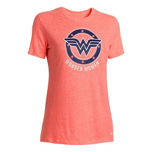 Womens Under Armour Wonder Woman Tri-Blend Crew Short Sleeve Technical Tops - Brilliance XS