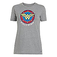 Womens Under Armour Wonder Woman Tri-Blend Crew Short Sleeve Technical Tops