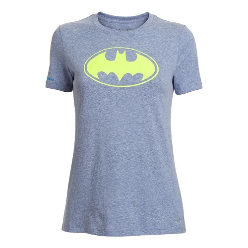 Womens Under Armour Batgirl Tri-Blend Crew Short Sleeve Technical Tops - Caspian L
