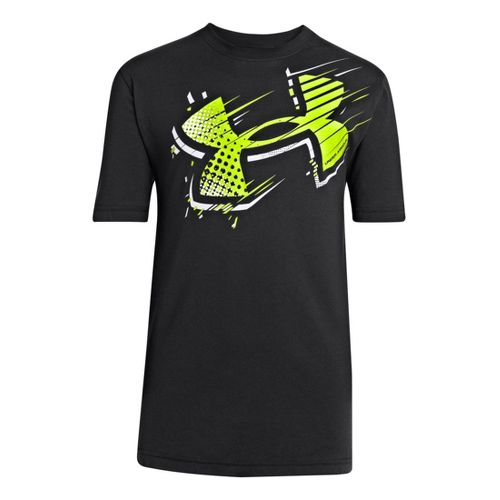 Kids Under Armour Boys Bigger Than Big T Short Sleeve Technical Tops - Black/Hi-Viz Yellow ...
