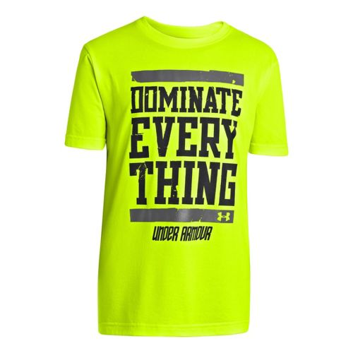 Kids Under Armour Boys Dominate Everything T Short Sleeve Technical Tops - Hi-Viz Yellow/Steel ...