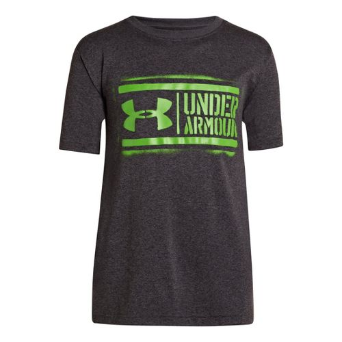 Kids Under Armour Boys DIY Lockup T Short Sleeve Technical Tops - Carbon Heather/Lizard XS ...