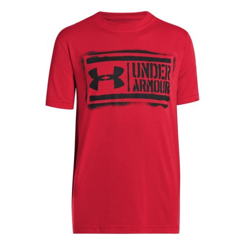Kids Under Armour Boys DIY Lockup T Short Sleeve Technical Tops - Red/Black S