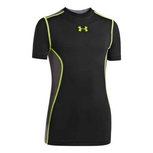 Kids Under Armour Boys HeatGear Armourvent Short Sleeve Technical Tops - Black/Hi-Viz Yellow XL