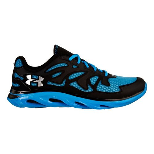 Mens Under Armour Micro G Spine Evo Running Shoe - Black/Electric Blue 10