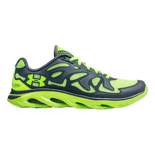 Mens Under Armour Micro G Spine Evo Running Shoe - Lead/Hyper Green 8.5