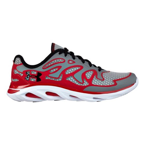 Mens Under Armour Micro G Spine Evo Running Shoe - Steel/Red 11.5