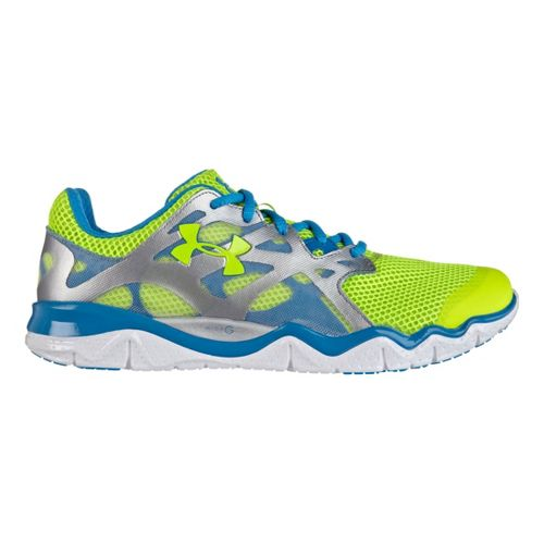Womens Under Armour Micro G Monza RE Running Shoe - High Vis Yellow/Electric Blue 8.5 ...