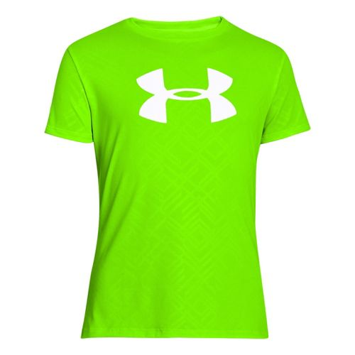 Kids Under Armour Girls Big Logo Embossed Short Sleeve Technical Tops - Hyper Green/White XL ...