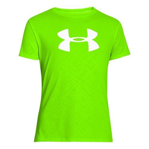 Kids Under Armour Girls Big Logo Embossed Short Sleeve Technical Tops - Hyper Green/White XS ...