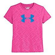 Kids Under Armour Girls Big Logo Embossed Short Sleeve Technical Tops