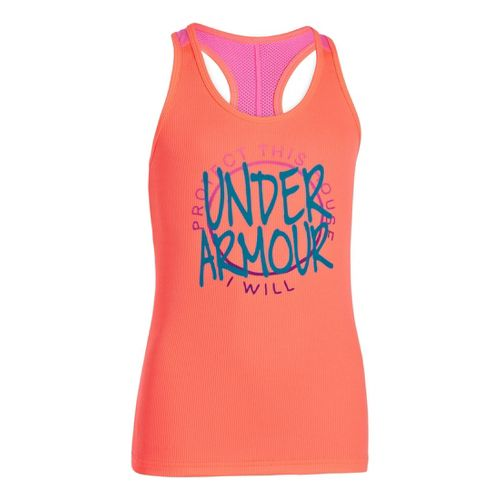 Kids Under Armour Girls Graphic Victory Tank Short Sleeve Technical Tops - Brilliance/Chaos XL