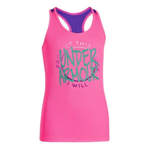 Kids Under Armour Girls Graphic Victory Tank Short Sleeve Technical Tops - Chaos/Pride XS
