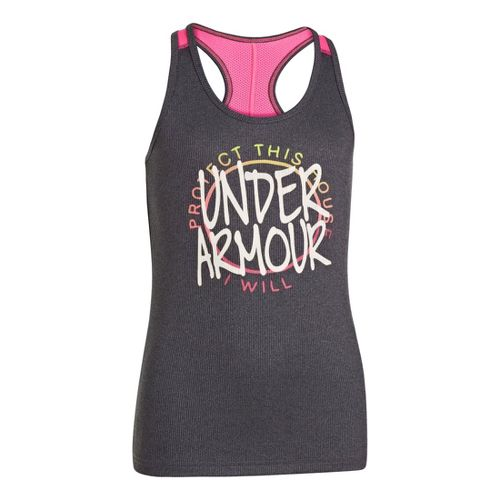 Kids Under Armour Girls Graphic Victory Tank Short Sleeve Technical Tops - Carbon ...