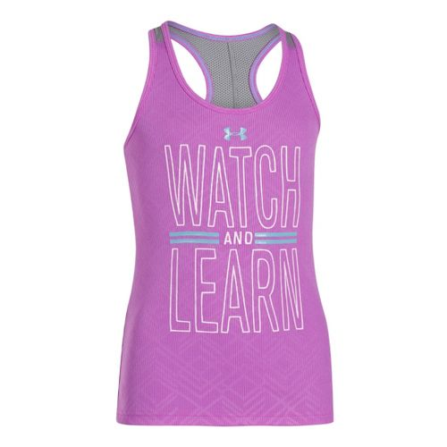 Kids Under Armour Girls Watch and Learn Tanks Technical Tops - Exotic Bloom/Cruise L