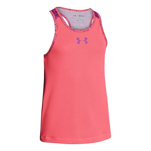 Kids Under Armour Girls Party In The Back Pinney Tanks Technical Tops - Brilliance/Exotic Bloom ...