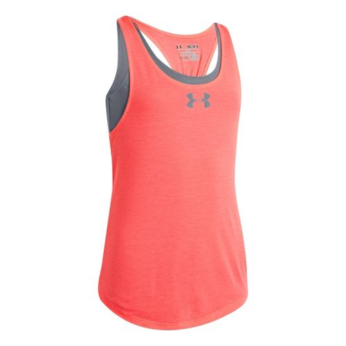 Kids Under Armour Girls Double The Fun Tanks Technical Tops - Brilliance/Steel XL
