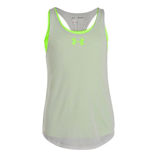 Kids Under Armour Girls Double The Fun Tanks Technical Tops - True Grey Heather/Hyper Green ...