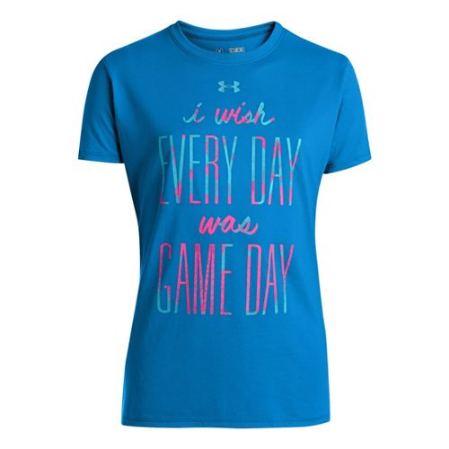 Kids Under Armour Girls I Wish T Short Sleeve Technical Tops - Electric Blue/Chaos S ...