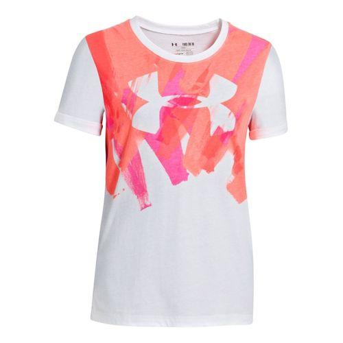 Womens Under Armour Girls Splatter Graphic T Short Sleeve Technical Tops - White/Chaos M