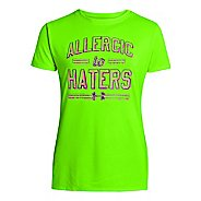 Kids Under Armour Girls Allergic To Haters Graphic T Short Sleeve Technical Tops