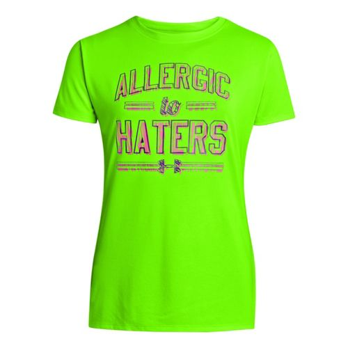 Kids Under Armour Girls Allergic To Haters Graphic T Short Sleeve Technical Tops - Chaos/Black ...