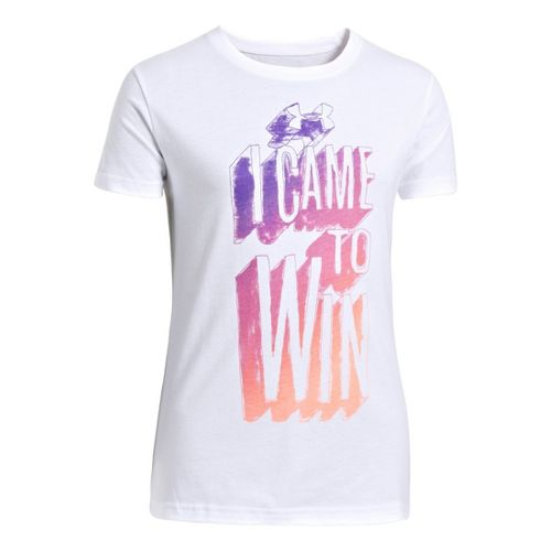 Kids Under Armour Girls Came To Win Graphic T Short Sleeve Technical Tops - White/Chaos ...