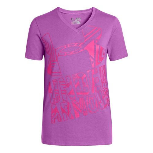 Kids Under Armour Girls Branded V-Neck Graphic T Short Sleeve Technical Tops - Exotic ...
