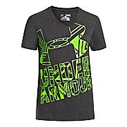 Kids Under Armour Girls Branded V-Neck Graphic T Short Sleeve Technical Tops