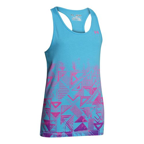 Kids Under Armour Girls Branded Graphic Tanks Technical Tops - Cruise/Chaos XS