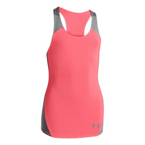 Kids Under Armour Girls Perfect 10 Fitted Tanks Technical Tops - Brilliance/Steel XL