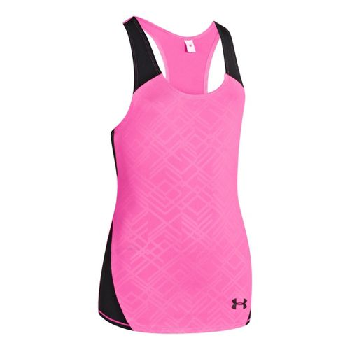 Kids Under Armour Girls Perfect 10 Fitted Tanks Technical Tops - Chaos/Black M