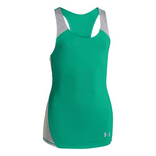 Kids Under Armour Girls Perfect 10 Fitted Tanks Technical Tops - Emerald Lake/Steel L