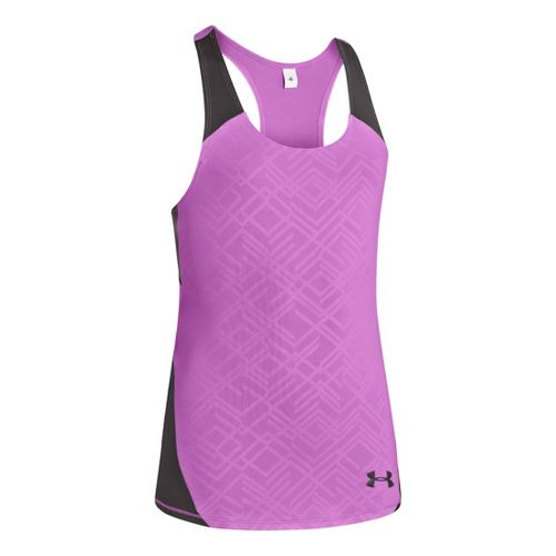 Kids Under Armour Girls Perfect 10 Fitted Tanks Technical Tops - Exotic Bloom/Charcoal XS