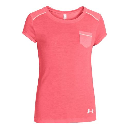 Kids Under Armour Girls Studio Pocket T Short Sleeve Technical Tops - Brilliance M