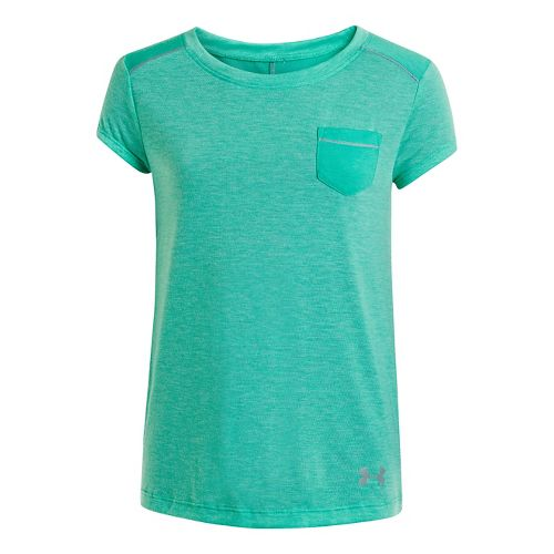 Kids Under Armour Girls Studio Pocket T Short Sleeve Technical Tops - Emerald Lake S ...