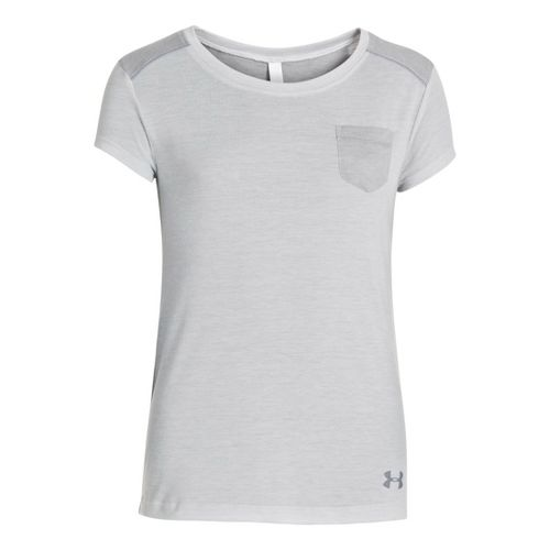 Kids Under Armour Girls Studio Pocket T Short Sleeve Technical Tops - Silver Heather L ...