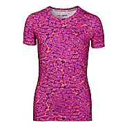 Kids Under Armour Girls HeatGear Sonic Printed Short Sleeve Technical Tops