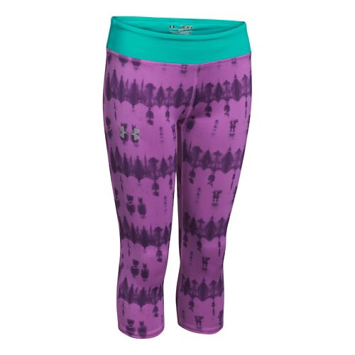 Kids Under Armour HeatGear Sonic Printed Capri Tights - Bloom/Mosaic YS