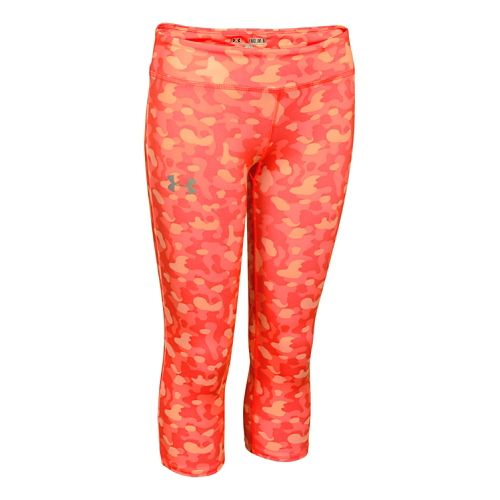 Kids Under Armour HeatGear Sonic Printed Capri Tights - After Burn YS